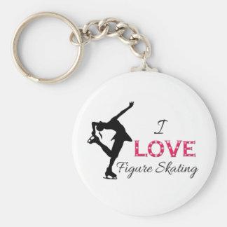私はフィギュアスケート、雪片及びスケート選手を愛します キーホルダー