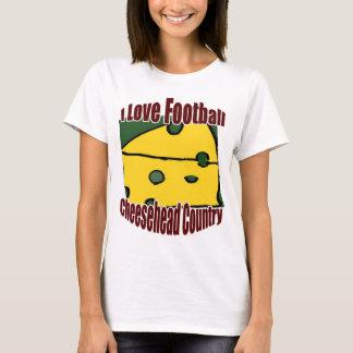 私はフットボールの緑および金ゴールドのCheeseheadの国を愛します Tシャツ