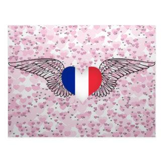 私はフランス-翼--を愛します ポストカード