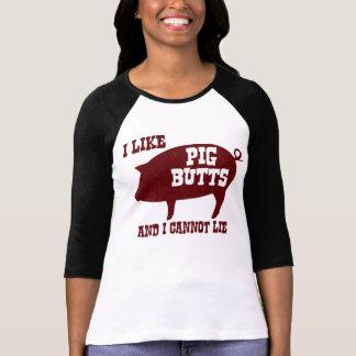 私はブタのお尻を好み、ベーコンBBQのあることができません Tシャツ