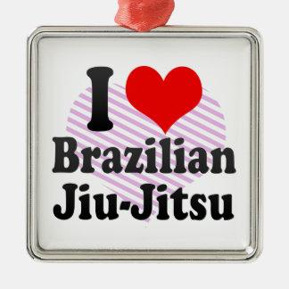 私はブラジル人Jiu-Jitsuを愛します メタルオーナメント