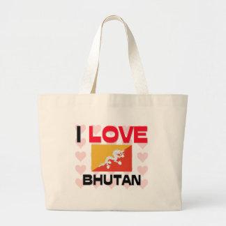 私はブータンを愛します ラージトートバッグ