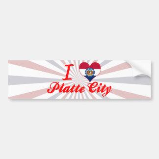 私はプラット都市、ミズーリを愛します バンパーステッカー