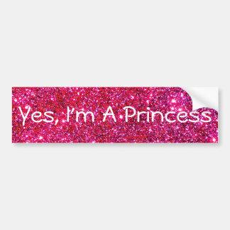 私はプリンセスのピンクのきらめくきらびやかで魅力的でかわいいおもしろいです バンパーステッカー