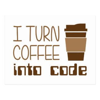私はプログラミングコードにコーヒーを回します ポストカード