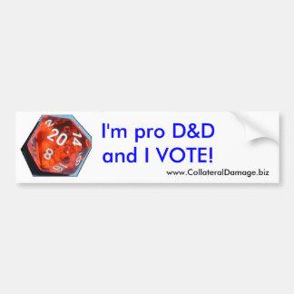 私はプロD&Dであり、ステッカーを投票します バンパーステッカー