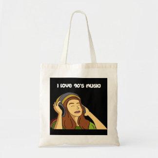 私はヘッドホーンのデジタル芸術の90年代音楽女の子を愛します トートバッグ