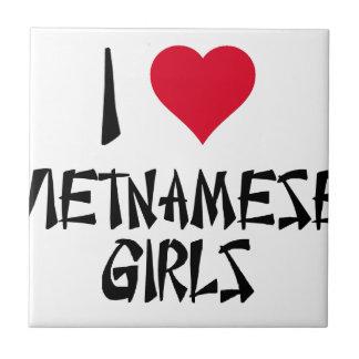 私はベトナムの女の子を愛します 正方形タイル小
