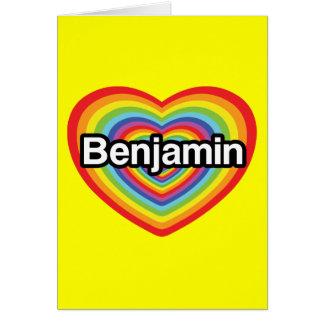 私はベンジャーミンを愛します: 虹のハート カード