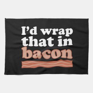 私はベーコンの台所タオルのそれを包みます キッチンタオル