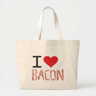 私はベーコンを愛します ラージトートバッグ