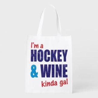 私はホッケー及びワインちょっとGalです エコバッグ