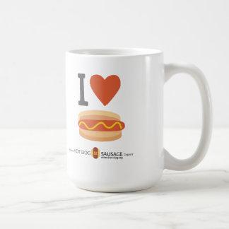 私はホットドッグを愛します コーヒーマグカップ