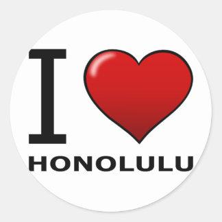 私はホノルル、HI -ハワイ--を愛します ラウンドシール