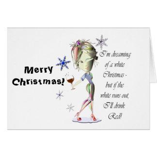 私はホワイトクリスマス、おもしろいなワインのギフトの夢を見ています カード