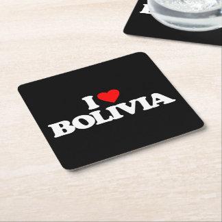 私はボリビアを愛します スクエアペーパーコースター