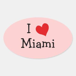 私はマイアミを愛します 楕円形シール