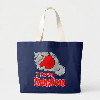 私はマナティーのトートバックを愛します ラージトートバッグ