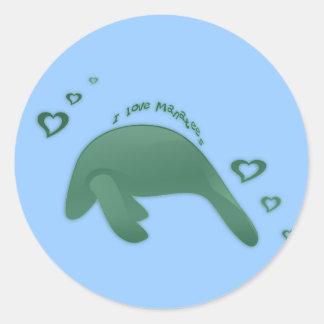 私はマナティーの緑を愛します ラウンドシール