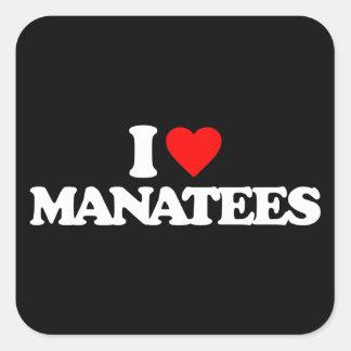 私はマナティーを愛します スクエアシール