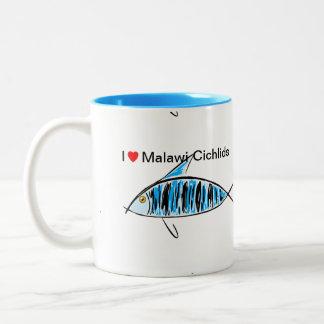 私はマラウィのシクリッドのマグを愛します ツートーンマグカップ