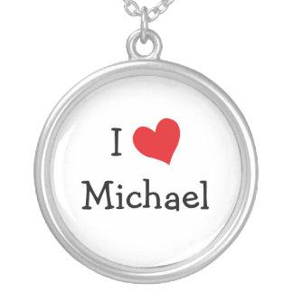 私はミハエルネックレスを愛します シルバープレートネックレス