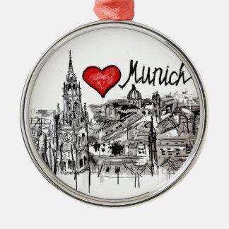 私はミュンヘンを愛します メタルオーナメント