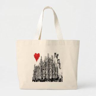私はミラノを愛します ラージトートバッグ