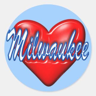 私はミルウォーキーウィスコンシンを愛します ラウンドシール