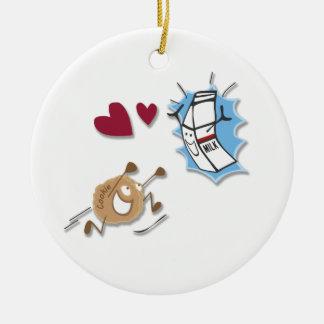 私はミルクおよびクッキーを愛します! セラミックオーナメント