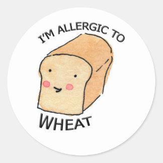 私はムギのステッカーにアレルギーです ラウンドシール