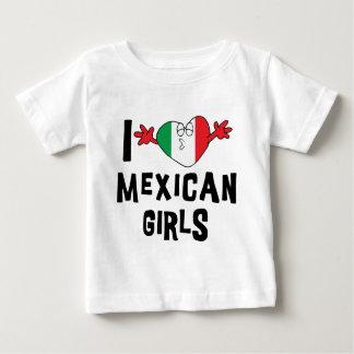 私はメキシコ女の子のベビーを愛します ベビーTシャツ