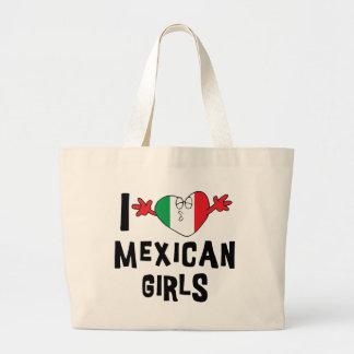 私はメキシコ女の子を愛します ラージトートバッグ