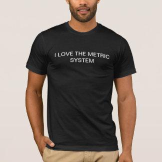 私はメートル法の黒Tを愛します Tシャツ