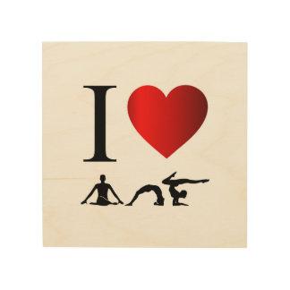 私はヨガおよび黙想を愛します ウッドウォールアート