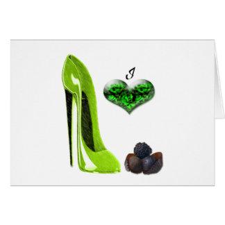 私はライムグリーンの小剣靴およびチョコレート芸術を愛します カード