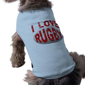 私はラグビーTシャツ、服装およびプロダクトを愛します ペット服
