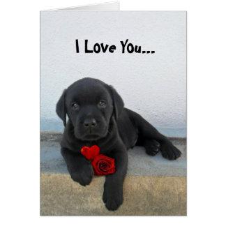 私はラブラドルの子犬愛します カード