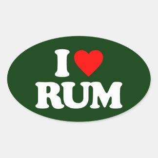 私はラム酒を愛します 楕円形シール