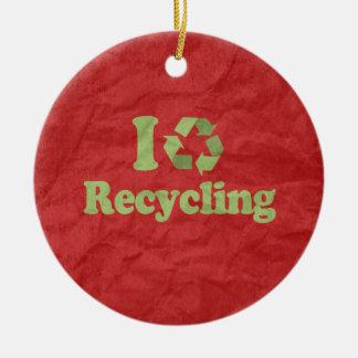 私はリサイクルすることを愛します セラミックオーナメント