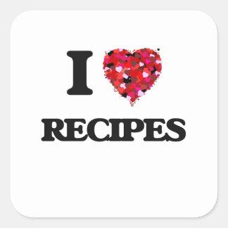 私はレシピの食糧デザインを愛します スクエアシール