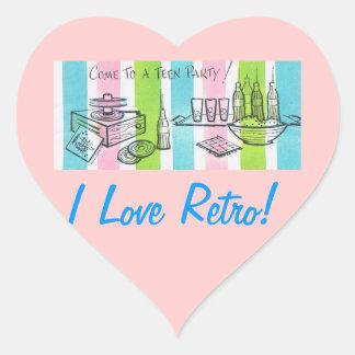 私はレトロの10代のな招待を愛します ハートシール
