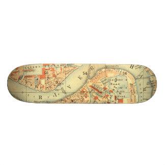 私はロンドン-古いヴィンテージの地図テムズ川--を愛します 21.6CM スケートボードデッキ