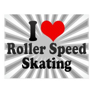 私はローラーのスピードスケートを愛します ポストカード
