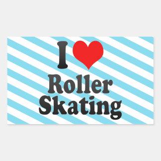 私はローラースケートで滑るを愛します 長方形シール