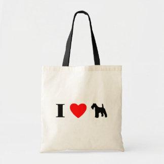 私はワイヤーフォックステリア犬のバッグを愛します トートバッグ