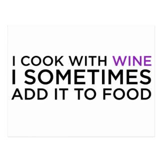 私はワインと調理します ポストカード