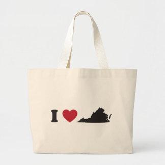 私はヴァージニアを愛します ラージトートバッグ