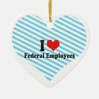 私は中央政府従業員を愛します 陶器製ハート型オーナメント