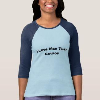 私は人をそのクーポン3/4の袖の女性のTシャツ愛します Tシャツ
